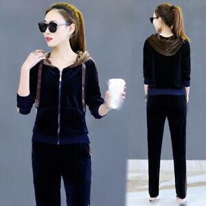 latest spring autumn Korean trend fashion elegant pleuche leisure sports suits