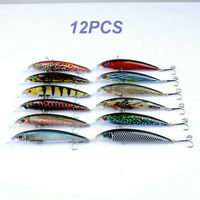 12PCS Fishing Lures Minnow Plastic Hard Bait Bass Crankbait Hook Tackle Crank