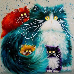 Cartoon Cat Paint By Numbers Kit Acrylic Oil Watercolour Painting Adult Kids DIY