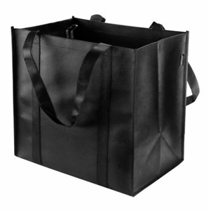 3 PCS - New Black Color LARGE Reusable Grocery Shopping Bags