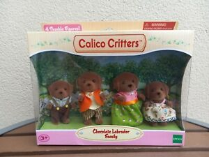 Calico Critters Chocolate Labrador Dog Family 4 Figures Retired NIB