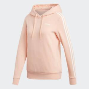 Ladies Adidas 3 Stripe Hoodie Hooded Sweatshirt Pink