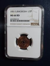 1951 Southern Rhodesia Half Penny NGC MS66 RED 1/2P RARE COIN PRICED TO SELL NOW