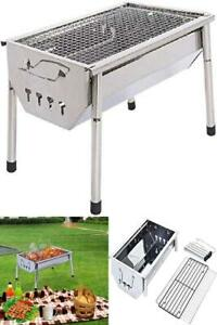 Charcoal Grill Barbecue Portable BBQ Stainless Steel Folding Camping Cooking