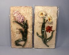 "Set of Two 3D Floral Pastel Wall Decor Hanging Plaques 14"" x 7""  *New*"
