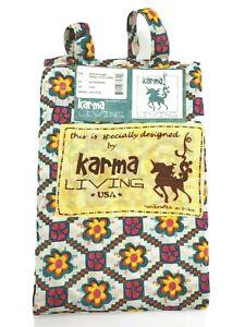 "NEW Mexican Flower Printed Cotton Curtain KARMA LIVING 42"" x 88"" Retro Loop Rod"