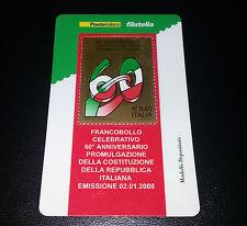 Tessera filatelica costituzione della Repubblica italiana 2008