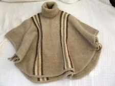 Iceland Long Wool Poncho Cape Turtleneck With Ties ICELANDIC