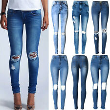 UK Womens Faded Stretch Ripped Skinny Distressed Denim Pants Trousers Jeans 6-16