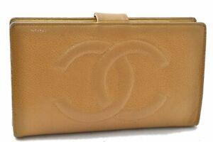Authentic CHANEL Caviar Skin CC Logo Long Wallet Yellow A8520