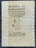 1929 NORMAN LINDSAY WOMEN IN PARLIAMENT PROSPECTUS RARE - FREE SHIPPING