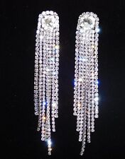 "SILVER CLEAR RHINESTONE BRIDAL CHANDELIER 4"" LONG CLIP EARRINGS /1917"