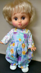 For Galoob Baby Face - Lavender w/Sparkly Flowers Overalls & Coordinating Blouse