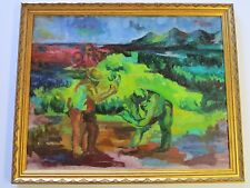 FINEST EVA BRAMSON PAINTING EARLY CALIFORNIA WOMAN ARTIST EXPRESSIONISM FARMERS