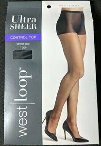 West Loop Ultra Sheer Control Top Size E Jet Black  Panty Sheer Toe Hose New