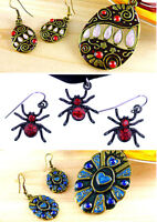 Vintage / araignée style punk / émail collier pendentif et boucles d'oreilles, d