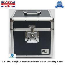 "2 X NEO BLACK Aluminium DJ Storage Carry Case for 100 LP Vinyl 12"" Records TOUGH"