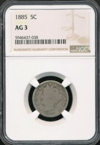 """1885 Liberty Head (""""V"""") Nickel NGC AG 3 *Key Date In The Set!*"""