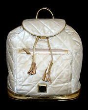 DOONEY & BOURKE Ivory Quilted Nylon & Gold Leather Drawstring Backpack