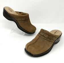 Softwalk Abby Womens Size 8 M Clogs Brown Leather Open Heel Slip On Clog Comfort