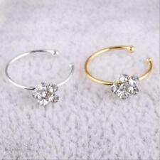 9mm Women Flower Nose Ring Fake Hoop Rhinestone Body Charm Jewelry Gift H0T3