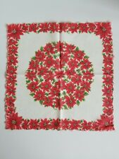 Vintage Ladies Hankie Christmas Poinsettia Red Floral