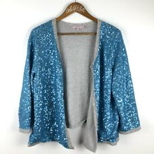 Calypso St Barth Sequin Jacket Blue Jersey Cotton Lined Large