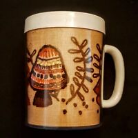 Thermo-Serv Mushroom Coffee Mug White Plastic Brown Embroidered Lining Tea Cup