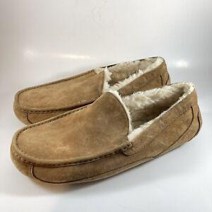 UGG 5775 Ascot Brown Leather Slip On Moc Toe Slipper Shoes Men's US 14
