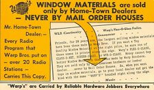Warp Brothers Window Materials Chicago, Illinois Vintage 1950s Advertising A03