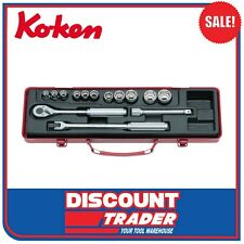 "Koken Socket Set 3/8"" Square Drive 12 Point 14 Piece Made in Japan - 3220M"