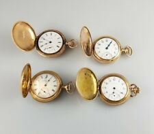 ANTIQUE COLLECTION 4 HUNTING CASE 0s POCKET WATCHES – SM WATCH LOT GOLD FILLED