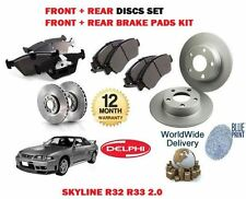 FOR NISSAN SKYLINE R32 R33 2.0 RB20E 1989-> FRONT + REAR BRAKE DISC + PAD KIT