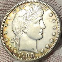 1900-S BARBER QUARTER - SOME BEAUTIFUL TONING - AU (UNCERTIFIED)