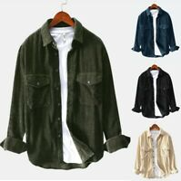Men's Autumn Casual Shirts Long Sleeve Solid Tops Corduroy Blouse Tops Shirt