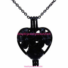 """-H401 Black Flower Heart Pearl Beads Cage Locket Necklace 18"""""""