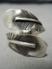 Extremely Detailed! Vintage Navajo Hand Stamped Feather Sterling Silver Ring