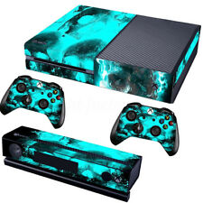 Xbox One Console Blue Skull Decal Skin Sticker Cover + 2 Controller Skins New