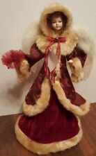 """Angel Christmas Tree Topper Red Tan Fur Hooded 17"""" Table Top Feather Wings NEW"""