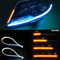 Ultra Thin 30cm Car Soft Tube LED Strip Daytime Running Light Turn Signal LampX2