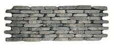 """Stone Grey Standing Mosaic Tile 4"""" x 12"""" - Stacked River Rock Stone Tile"""