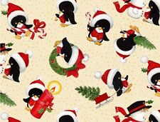 Fat Quarter Christmas Time Penguins Cotton Quilting Fabric  50cm x 55cm