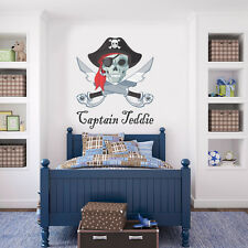 LARGE Pirate Captain Personalised Wall Sticker Vinyl Decal Wall Art - Any Name
