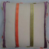 A 16 Inch Cushion Cover In Laura Ashley Ellora Velvet Stripe Zinnia Fabric