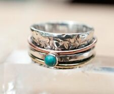 Turquoise 925 Sterling Silver Spinner Ring Meditation Ring Statement Ring sm22