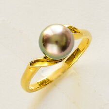 AUSTRALIAN CULTURED PEARL RING 8.1mm ABROLHOS ISLAND PEARL 9K GOLD SIZE O NEW