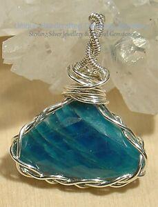 Blue Apatite 925 Sterling Silver Pendant Handmade Jewellery 1120-13