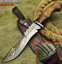 SFK CUTLERY RARE CUSTOM HANDMADE DAMASCUS ART HUNTING BOWIE KNIFE WALNUT WOOD