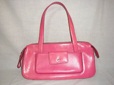 Monsac Original Solid Pink Leather Shoulder Handbag w/Multiple Pockets