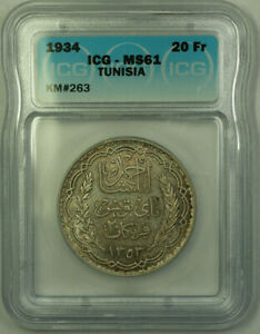 1934 Tunisia 20 Francs Coin ICG MS-61 KM#263